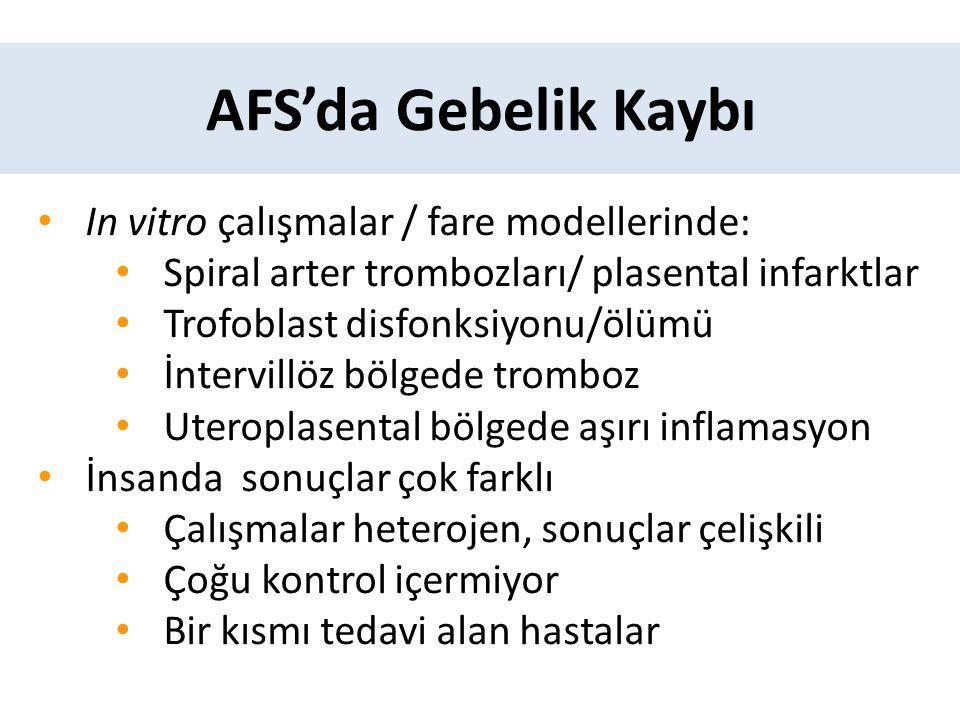 AFS'da Gebelik Kaybı In vitro çalışmalar / fare modellerinde: