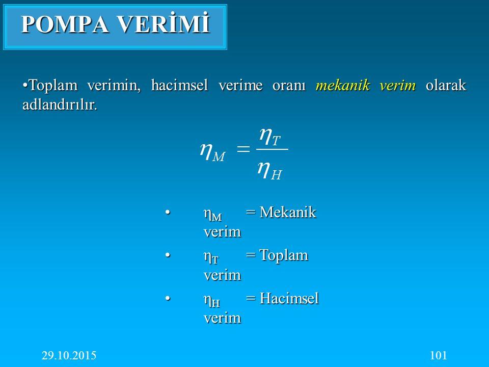 POMPA VERİMİ Toplam verimin, hacimsel verime oranı mekanik verim olarak adlandırılır. ηM = Mekanik verim.