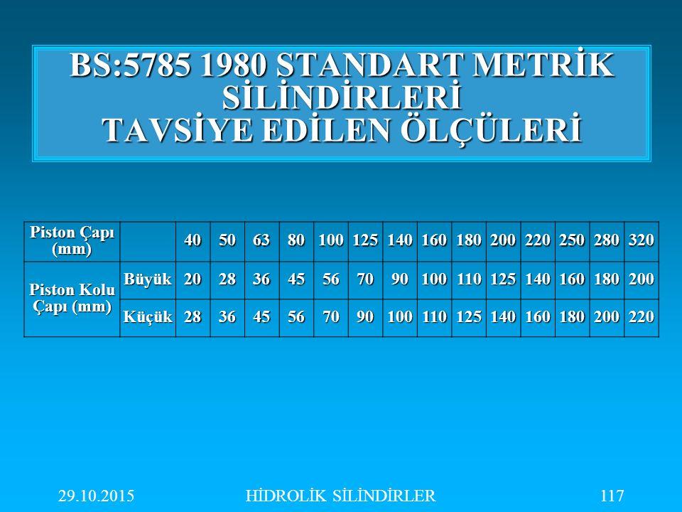 BS:5785 1980 STANDART METRİK SİLİNDİRLERİ TAVSİYE EDİLEN ÖLÇÜLERİ