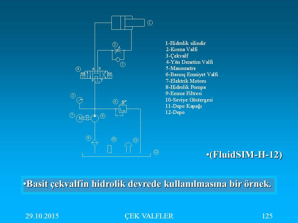 Basit çekvalfin hidrolik devrede kullanılmasına bir örnek.