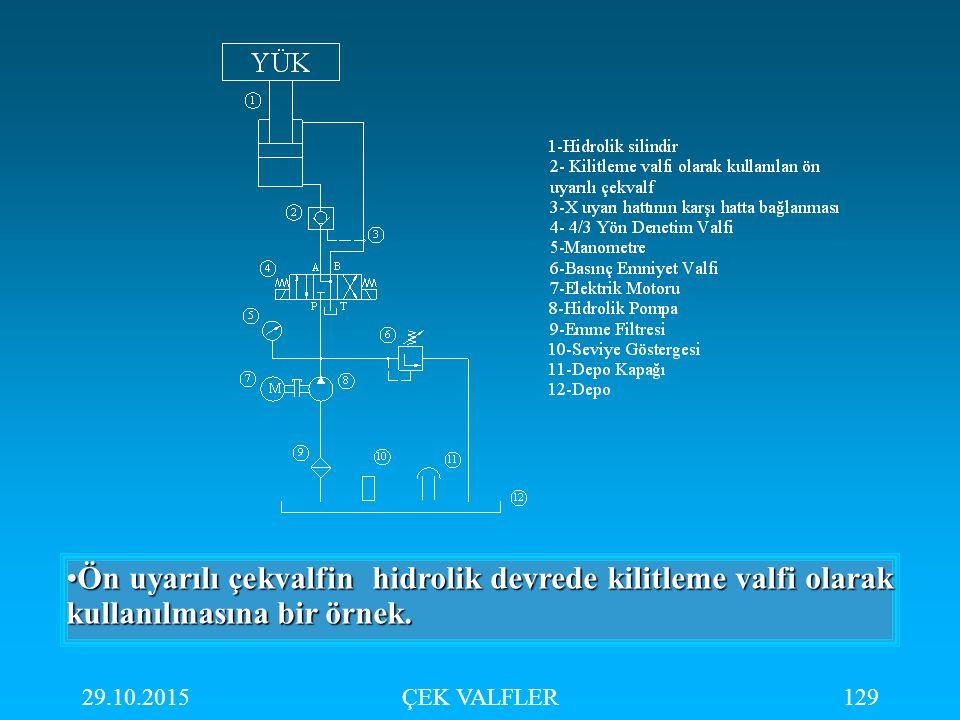 Ön uyarılı çekvalfin hidrolik devrede kilitleme valfi olarak kullanılmasına bir örnek.