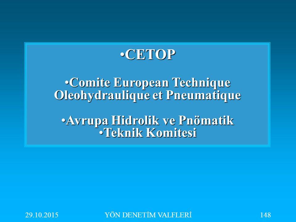 CETOP Comite European Technique Oleohydraulique et Pneumatique