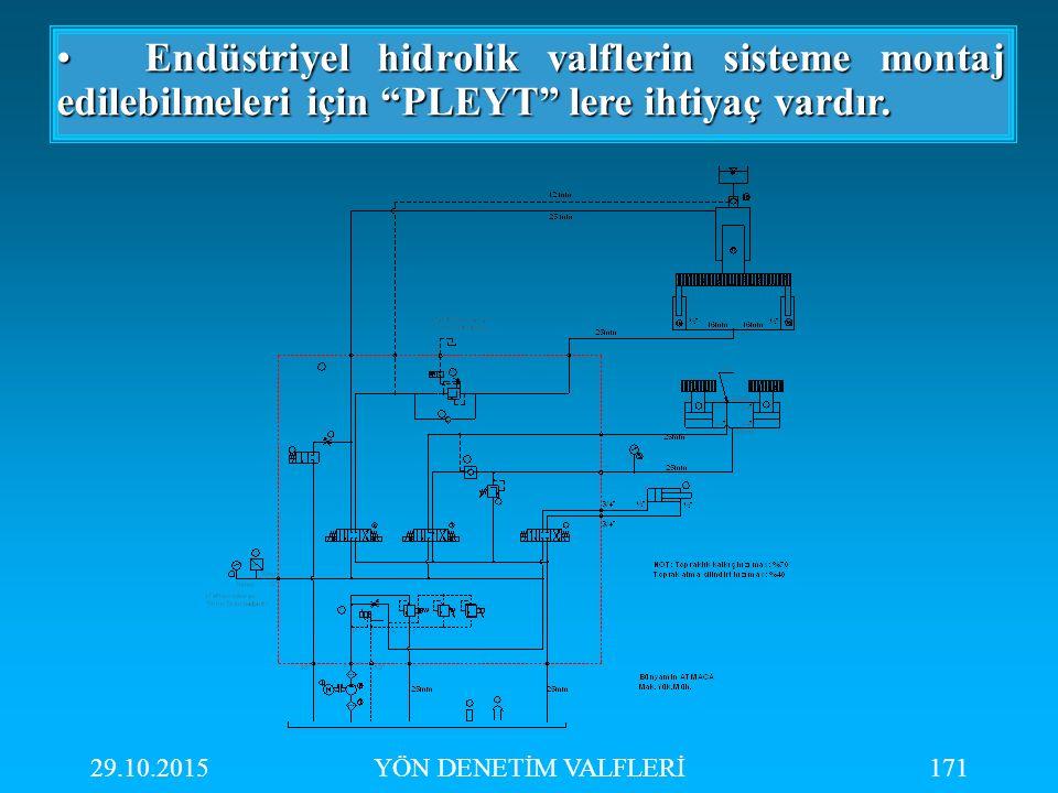 Endüstriyel hidrolik valflerin sisteme montaj edilebilmeleri için PLEYT lere ihtiyaç vardır.