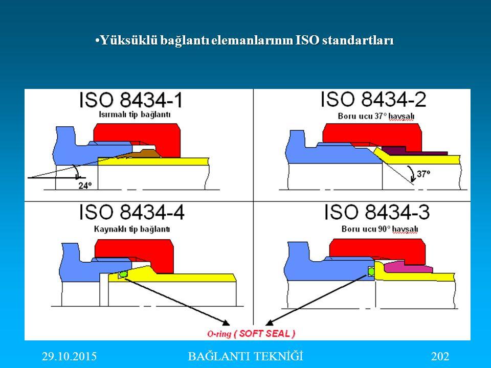 Yüksüklü bağlantı elemanlarının ISO standartları