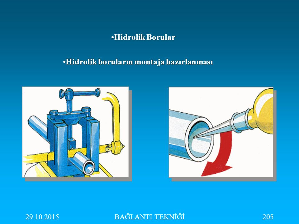 Hidrolik boruların montaja hazırlanması