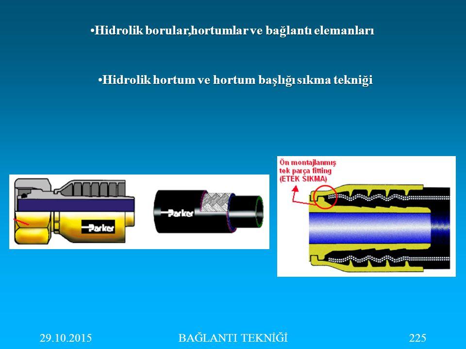 Hidrolik borular,hortumlar ve bağlantı elemanları