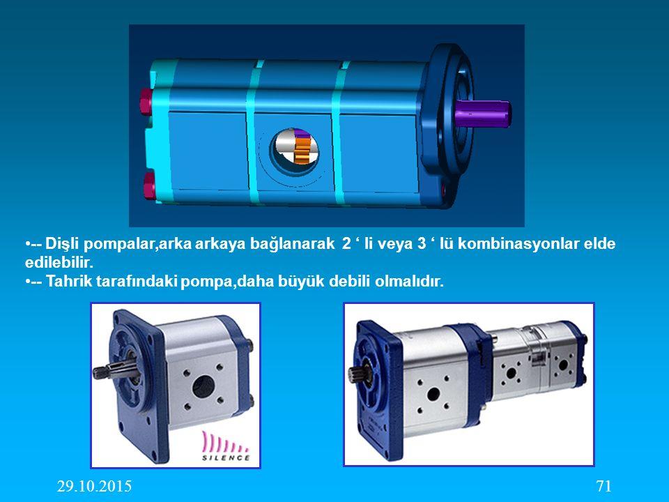 -- Dişli pompalar,arka arkaya bağlanarak 2 ' li veya 3 ' lü kombinasyonlar elde edilebilir.