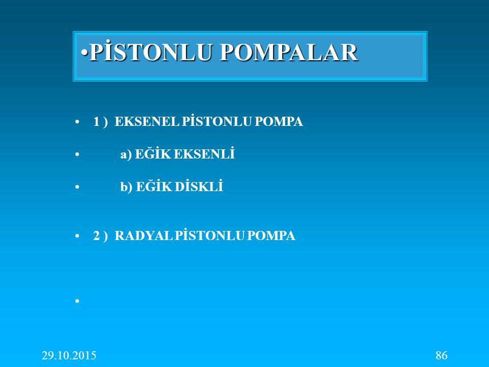 PİSTONLU POMPALAR 1 ) EKSENEL PİSTONLU POMPA a) EĞİK EKSENLİ