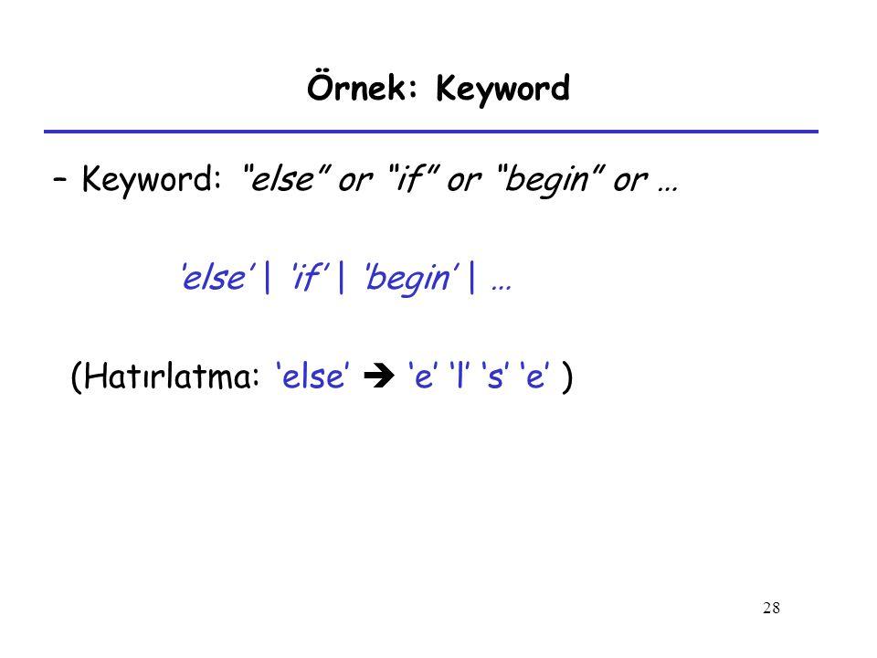 Keyword: else or if or begin or …