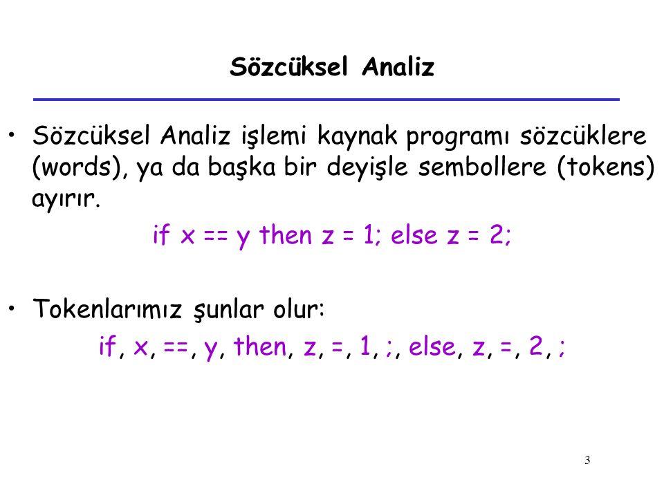 if x == y then z = 1; else z = 2; Tokenlarımız şunlar olur: