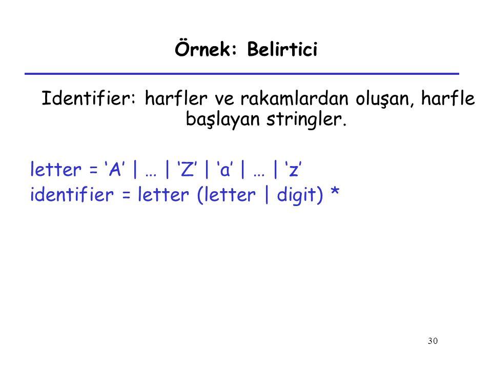 Identifier: harfler ve rakamlardan oluşan, harfle başlayan stringler.