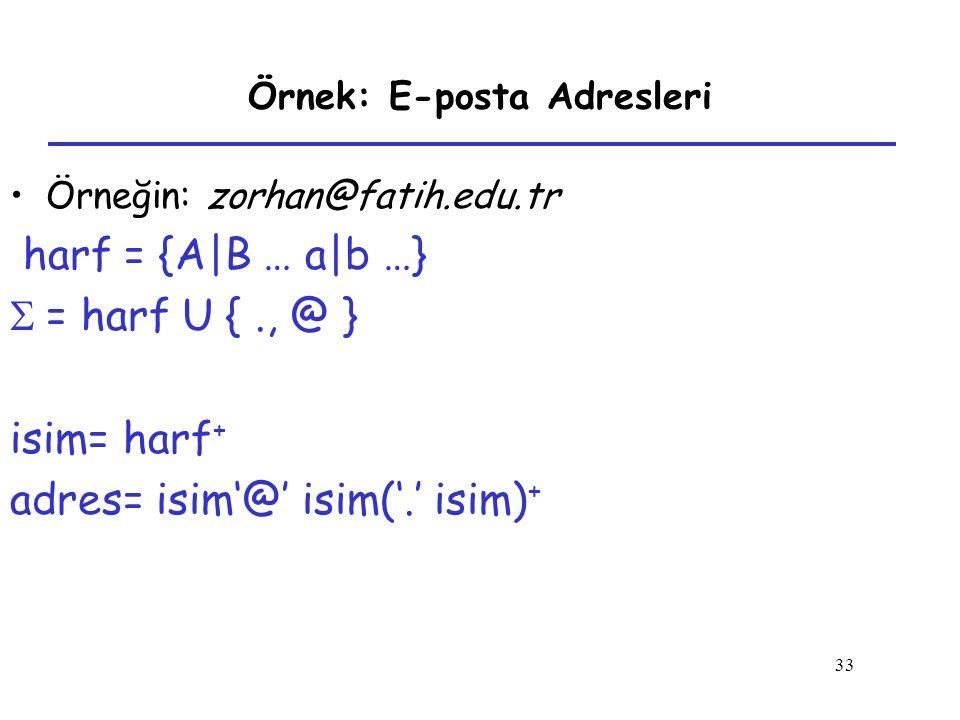Örnek: E-posta Adresleri