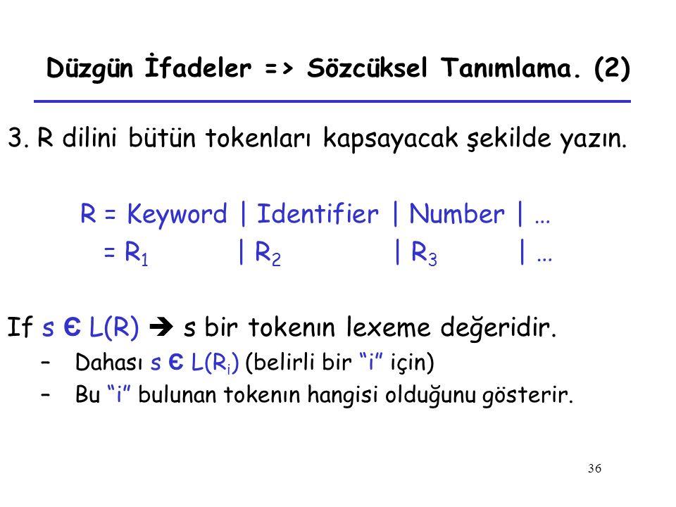 Düzgün İfadeler => Sözcüksel Tanımlama. (2)