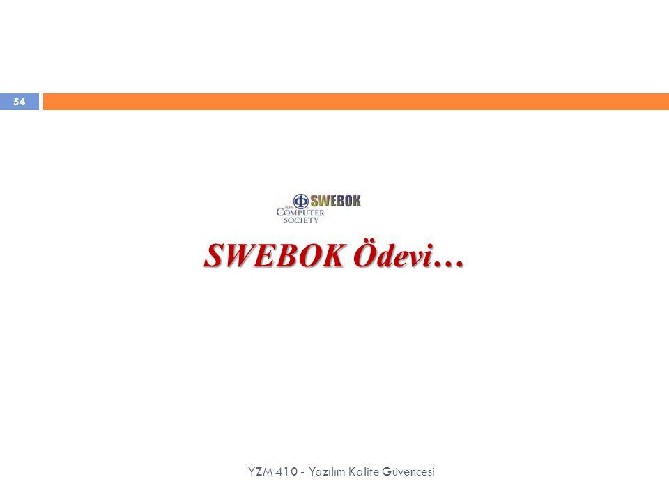 SWEBOK Ödevi… YZM 410 - Yazılım Kalite Güvencesi