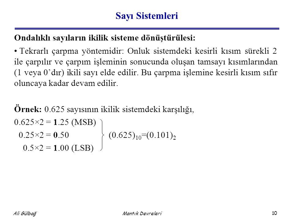 Sayı Sistemleri Ondalıklı sayıların ikilik sisteme dönüştürülesi: