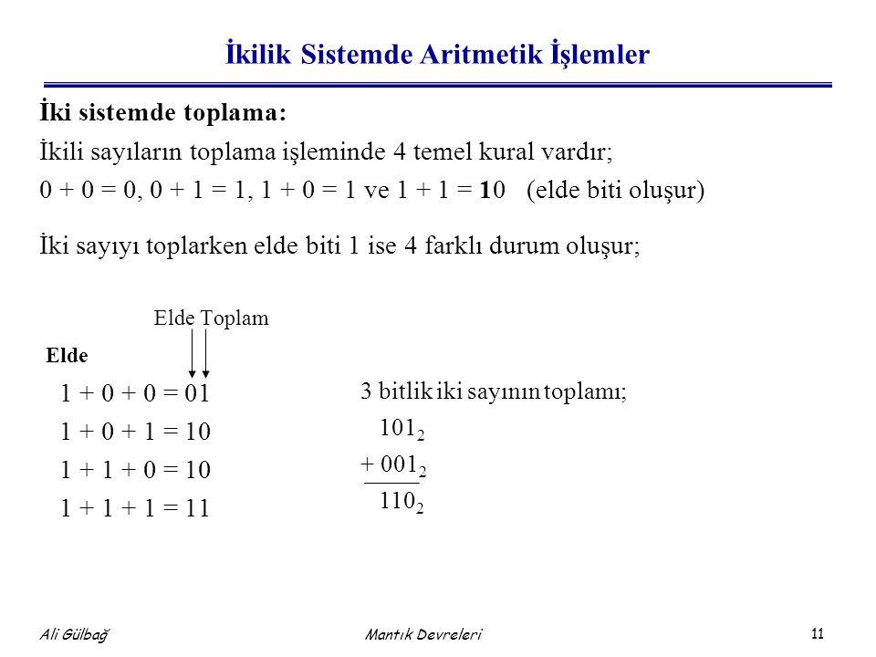 İkilik Sistemde Aritmetik İşlemler
