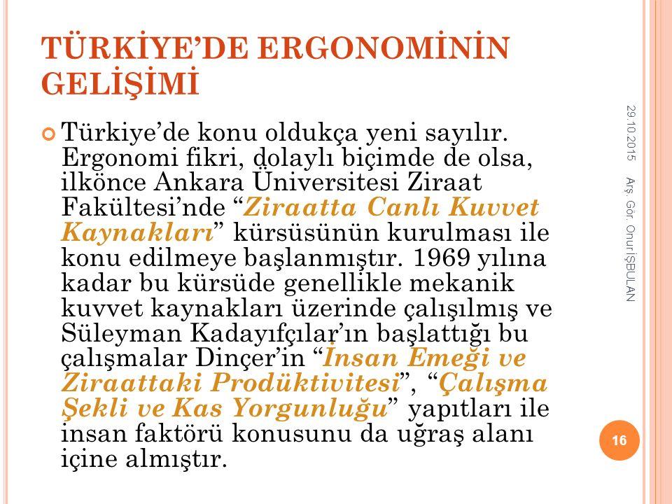 TÜRKİYE'DE ERGONOMİNİN GELİŞİMİ