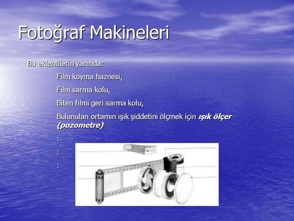 Fotoğraf Makineleri Bu eklentilerin yanında: Film koyma haznesi,