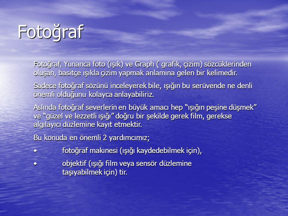 Fotoğraf Fotoğraf, Yunanca foto (ışık) ve Graph ( grafik, çizim) sözcüklerinden oluşan, basitçe ışıkla çizim yapmak anlamına gelen bir kelimedir.