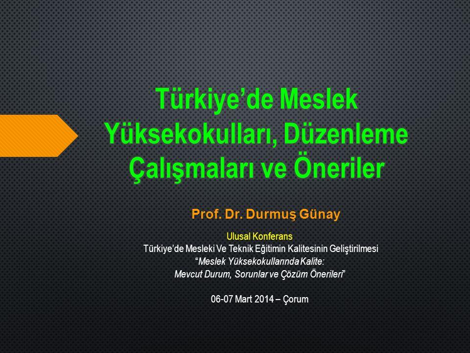 Türkiye'de Meslek Yüksekokulları, Düzenleme Çalışmaları ve Öneriler