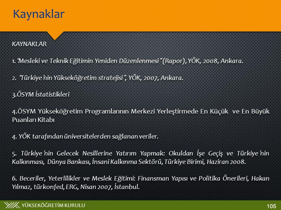Kaynaklar KAYNAKLAR. Mesleki ve Teknik Eğitimin Yeniden Düzenlenmesi (Rapor), YÖK, 2008, Ankara.
