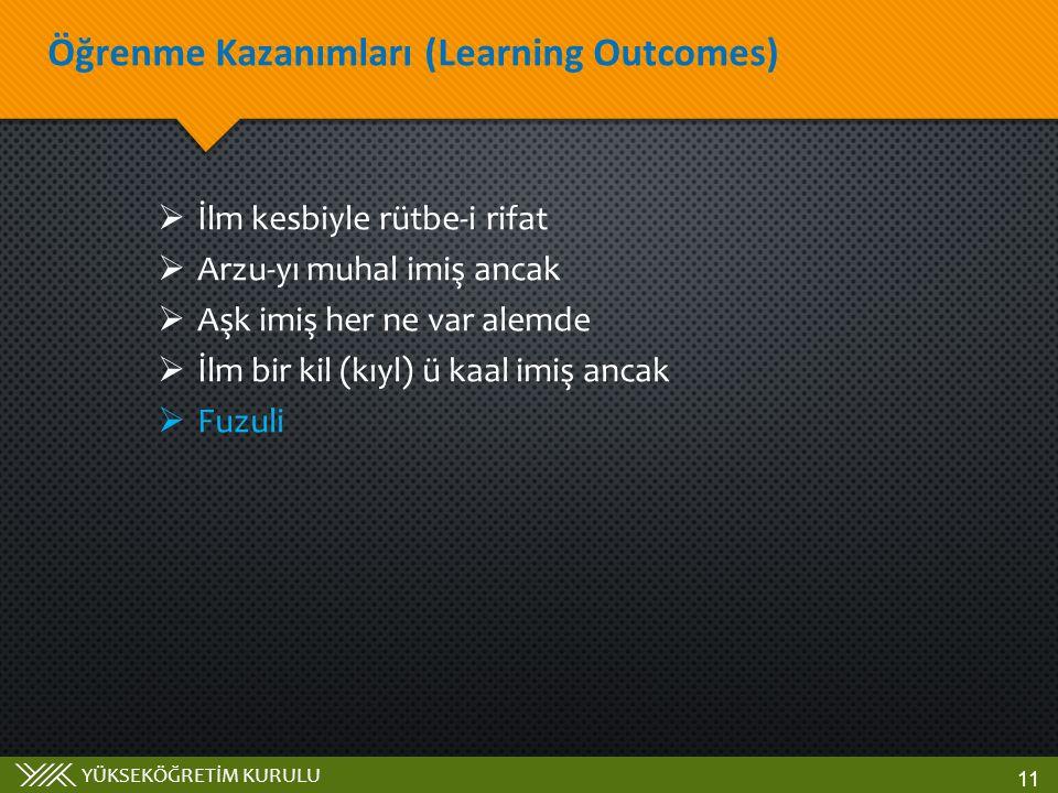 Öğrenme Kazanımları (Learning Outcomes)