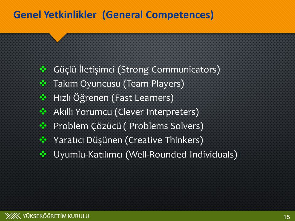 Genel Yetkinlikler (General Competences)