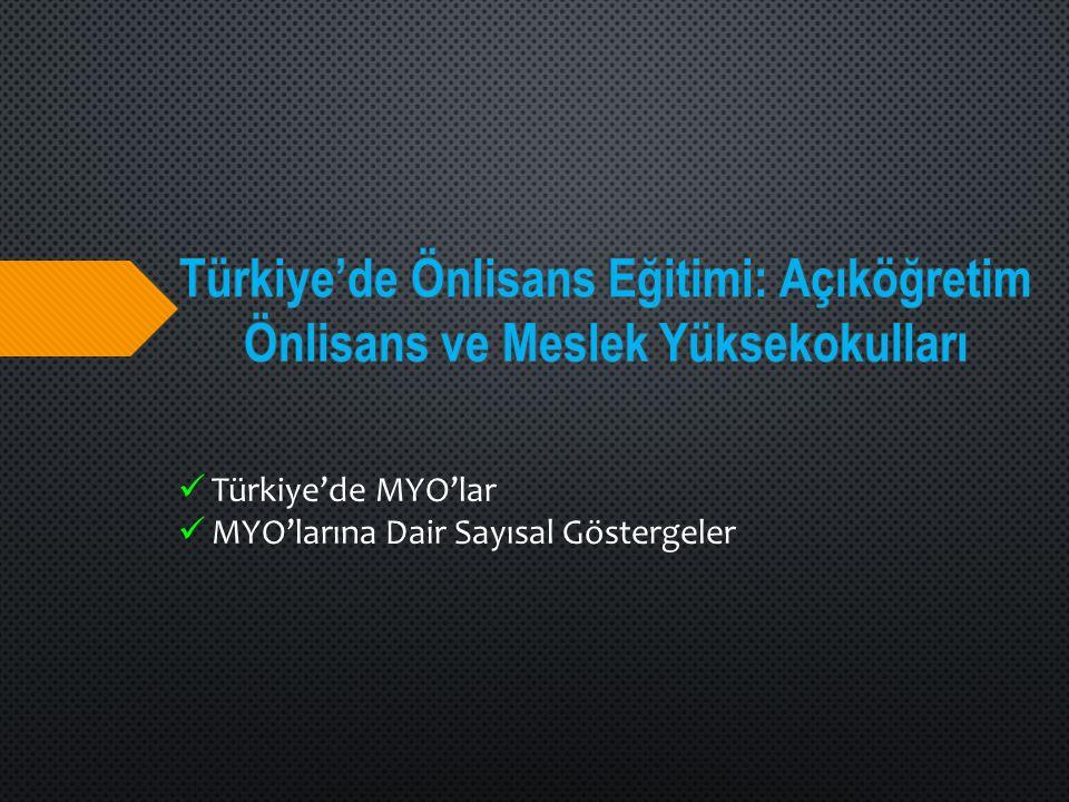 Türkiye'de Önlisans Eğitimi: Açıköğretim Önlisans ve Meslek Yüksekokulları