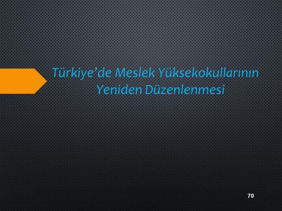Türkiye'de Meslek Yüksekokullarının Yeniden Düzenlenmesi
