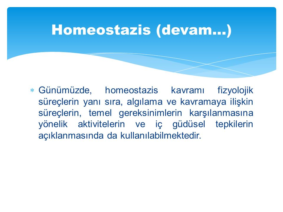 Homeostazis (devam…)
