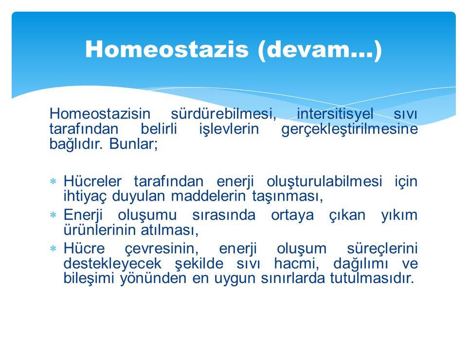 Homeostazis (devam…) Homeostazisin sürdürebilmesi, intersitisyel sıvı tarafından belirli işlevlerin gerçekleştirilmesine bağlıdır. Bunlar;