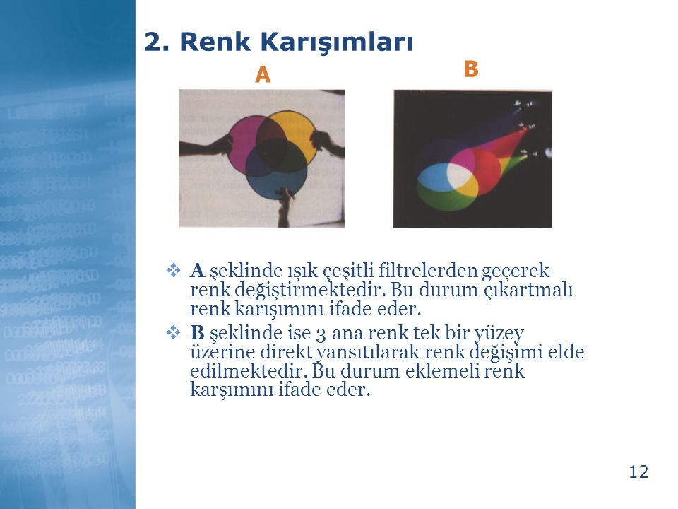 2. Renk Karışımları B. A. A şeklinde ışık çeşitli filtrelerden geçerek renk değiştirmektedir. Bu durum çıkartmalı renk karışımını ifade eder.