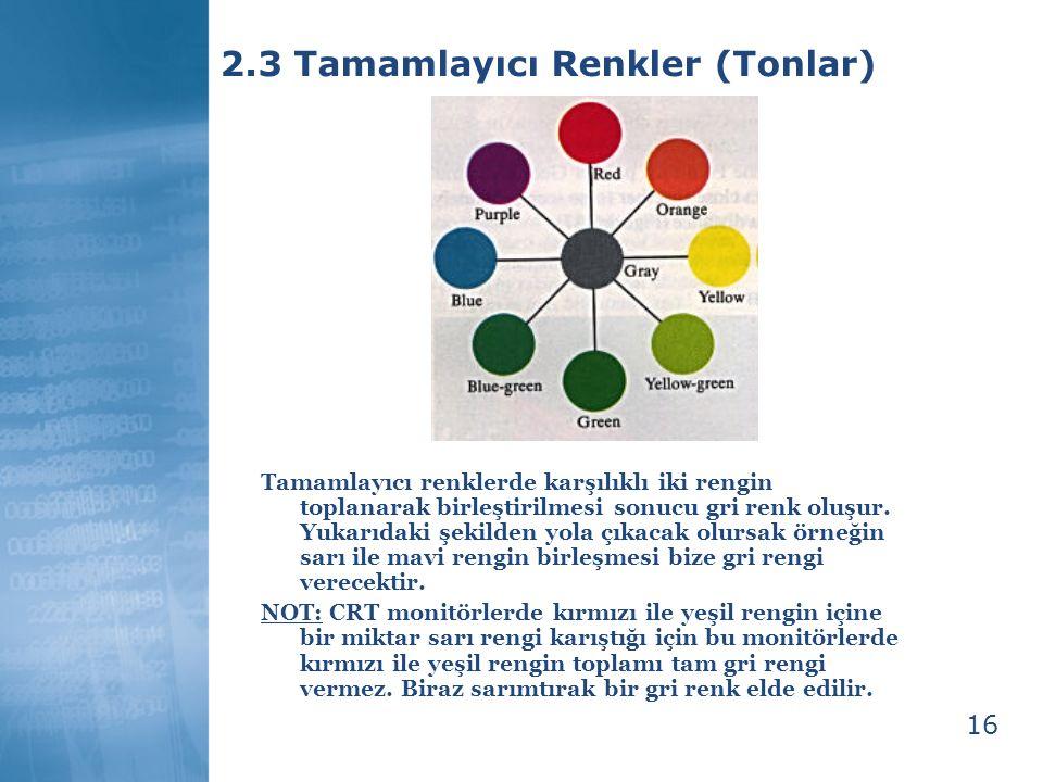 2.3 Tamamlayıcı Renkler (Tonlar)