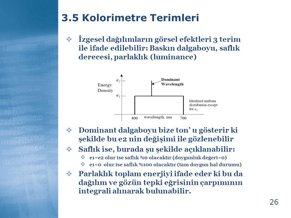 3.5 Kolorimetre Terimleri