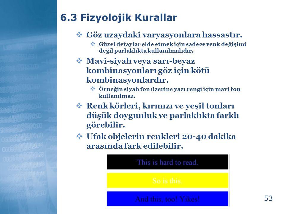 6.3 Fizyolojik Kurallar Göz uzaydaki varyasyonlara hassastır.