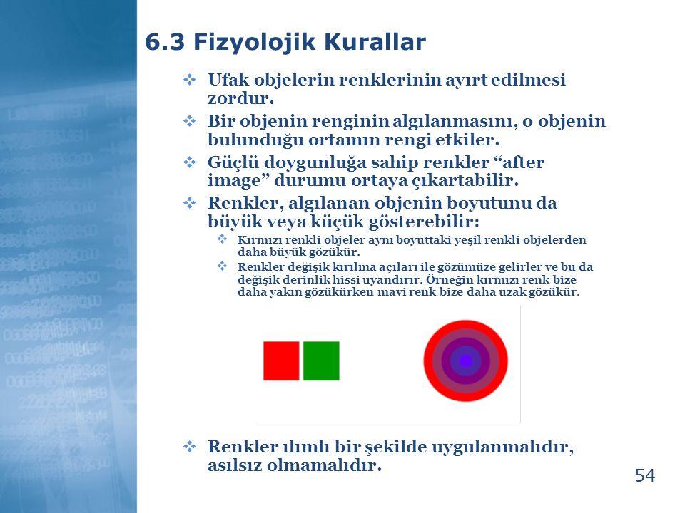 6.3 Fizyolojik Kurallar Ufak objelerin renklerinin ayırt edilmesi zordur.