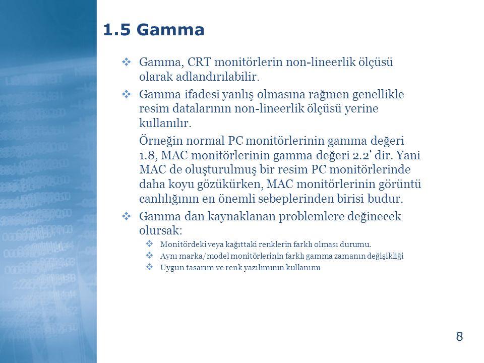 1.5 Gamma Gamma, CRT monitörlerin non-lineerlik ölçüsü olarak adlandırılabilir.