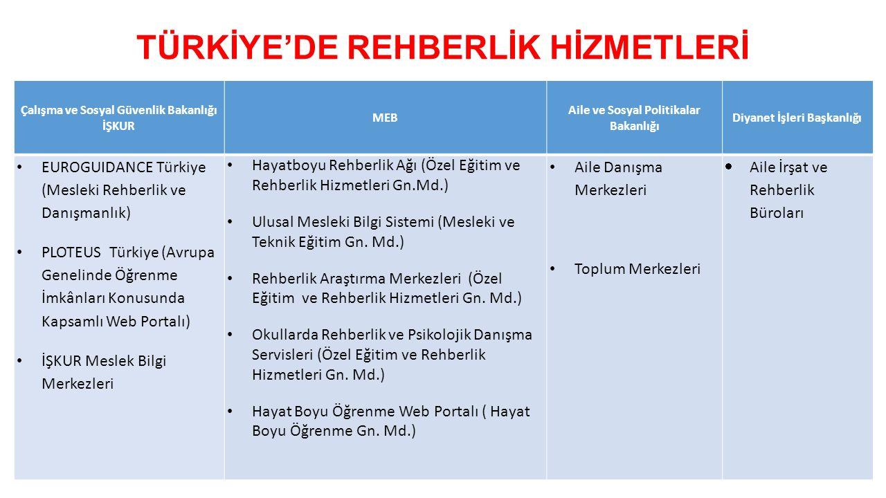TÜRKİYE'DE REHBERLİK HİZMETLERİ