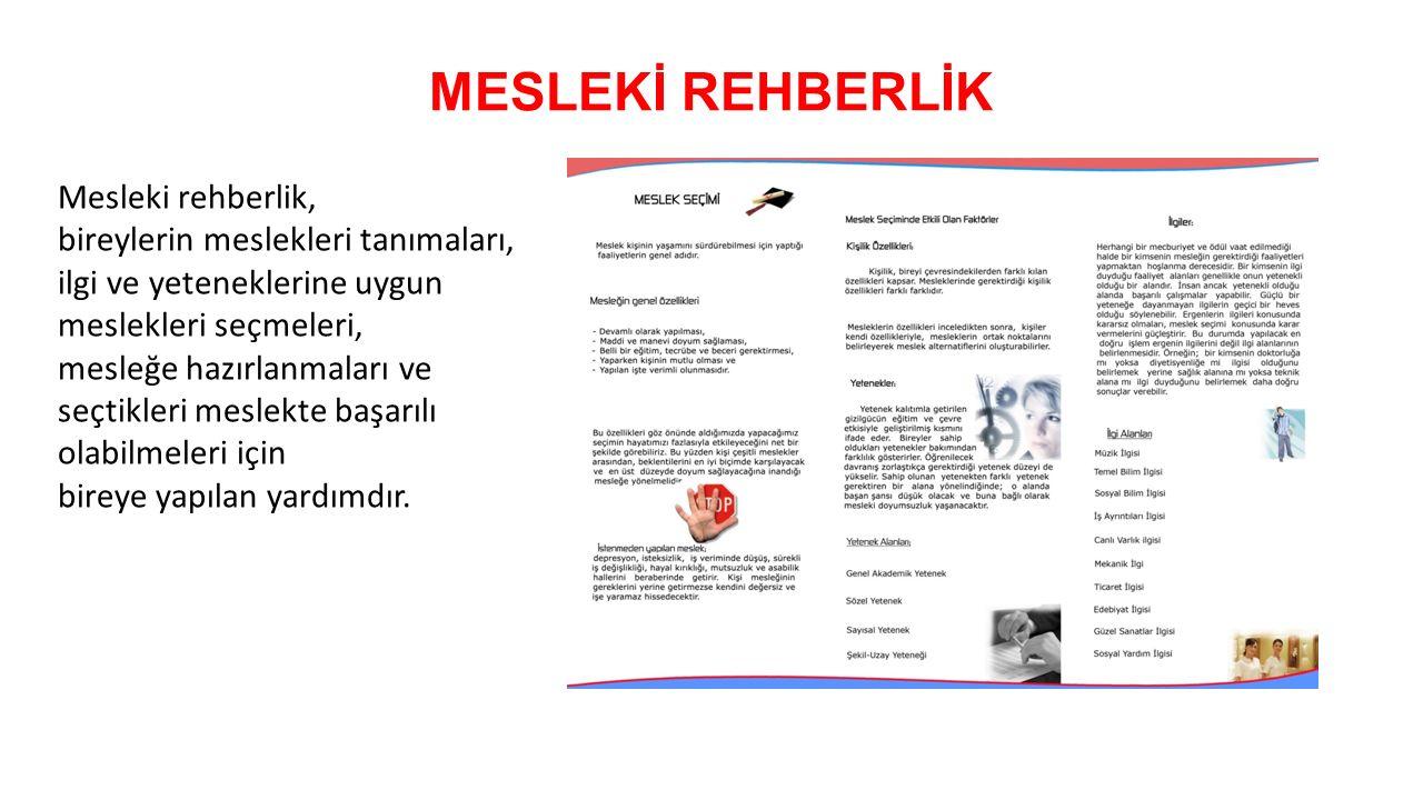 MESLEKİ REHBERLİK Mesleki rehberlik,