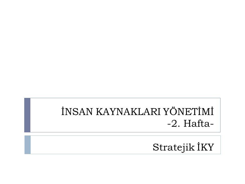 İNSAN KAYNAKLARI YÖNETİMİ -2. Hafta- Stratejik İKY