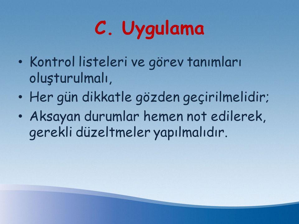 C. Uygulama Kontrol listeleri ve görev tanımları oluşturulmalı,