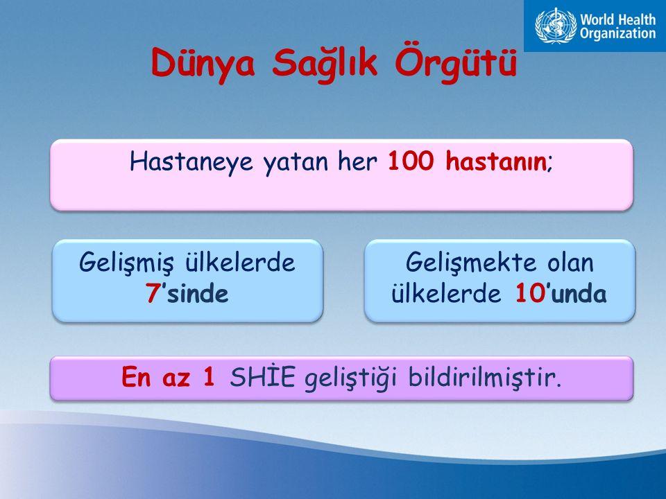 Dünya Sağlık Örgütü Hastaneye yatan her 100 hastanın;