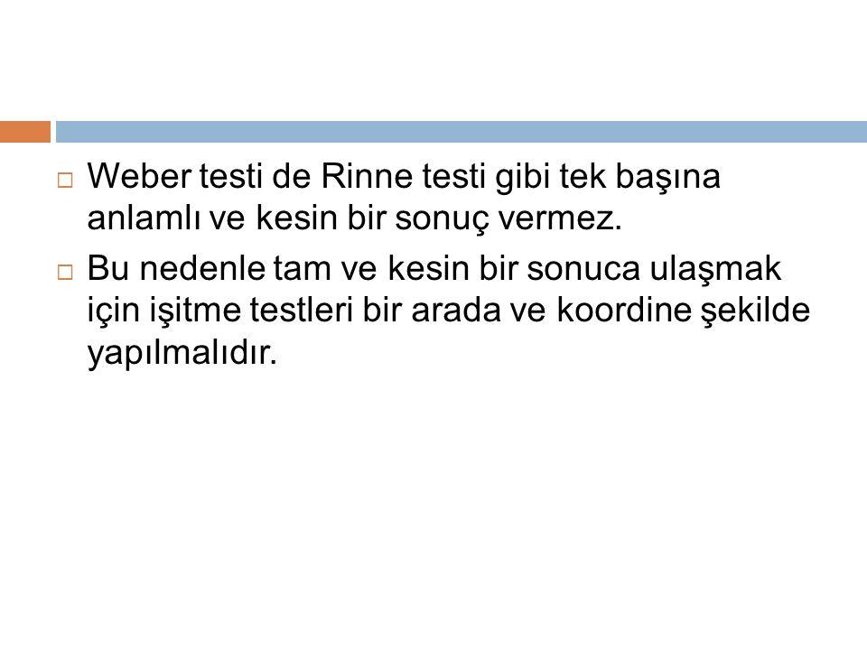 Weber testi de Rinne testi gibi tek başına anlamlı ve kesin bir sonuç vermez.