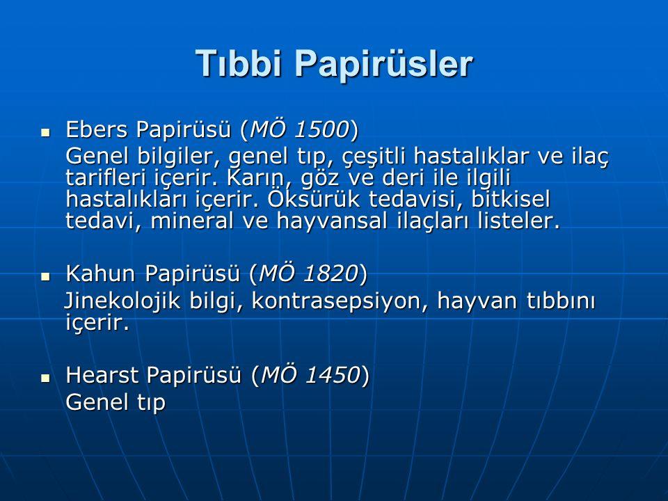 Tıbbi Papirüsler Ebers Papirüsü (MÖ 1500)