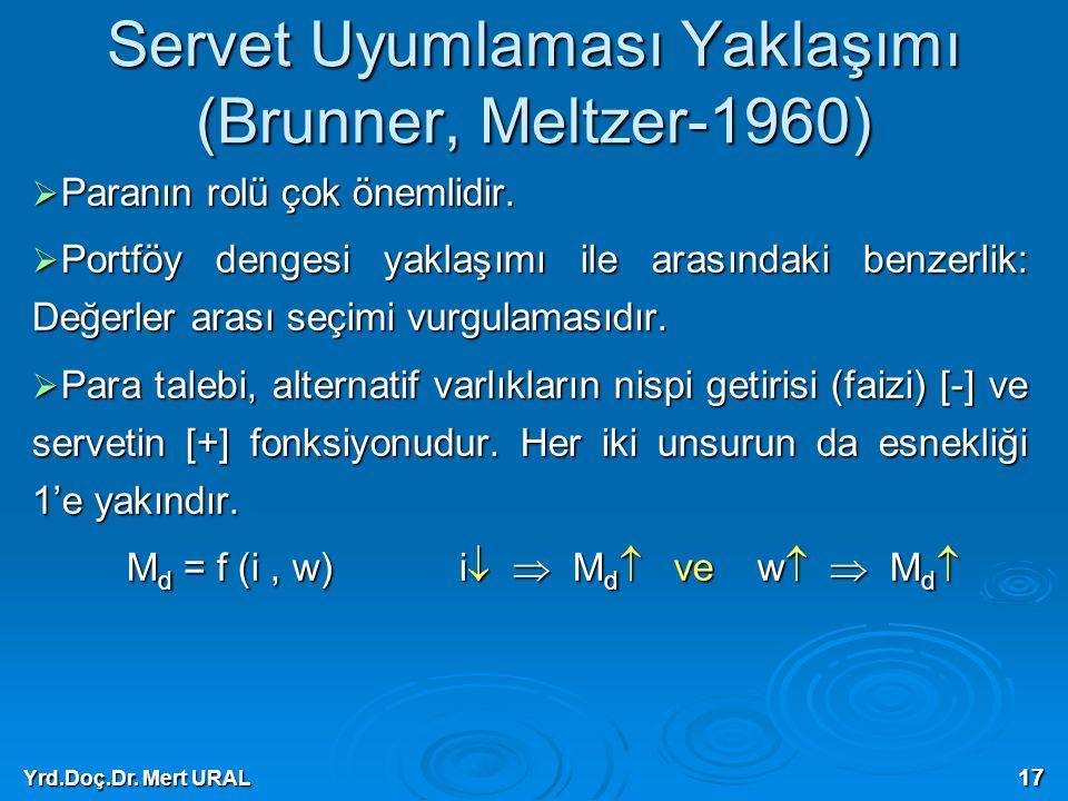 Servet Uyumlaması Yaklaşımı (Brunner, Meltzer-1960)