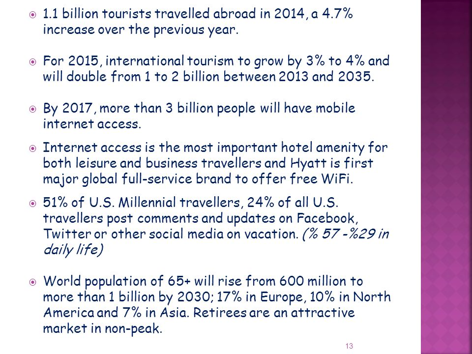 1. 1 billion tourists travelled abroad in 2014, a 4
