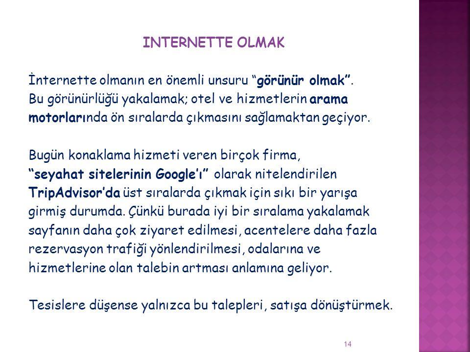 INTERNETTE OLMAK İnternette olmanın en önemli unsuru görünür olmak
