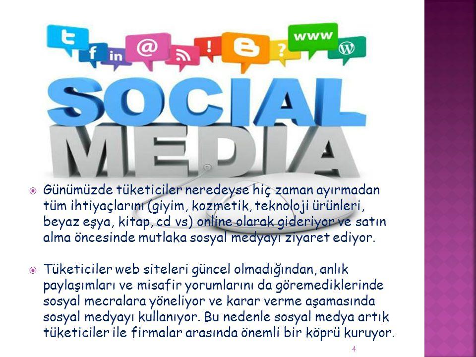 Günümüzde tüketiciler neredeyse hiç zaman ayırmadan tüm ihtiyaçlarını (giyim, kozmetik, teknoloji ürünleri, beyaz eşya, kitap, cd vs) online olarak gideriyor ve satın alma öncesinde mutlaka sosyal medyayı ziyaret ediyor.