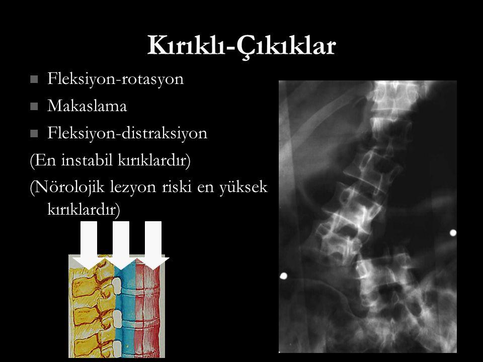 Kırıklı-Çıkıklar Fleksiyon-rotasyon Makaslama Fleksiyon-distraksiyon