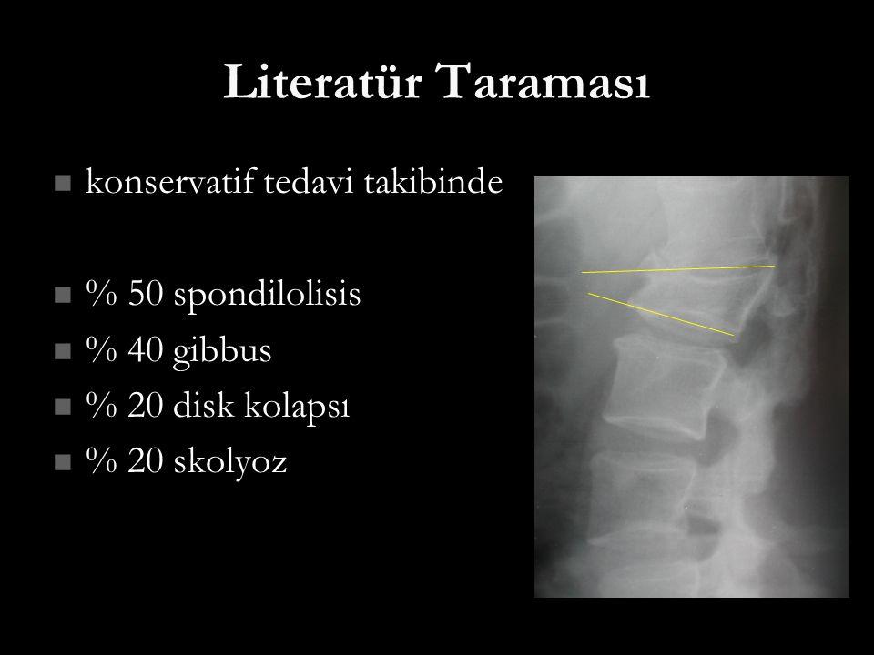 Literatür Taraması konservatif tedavi takibinde % 50 spondilolisis